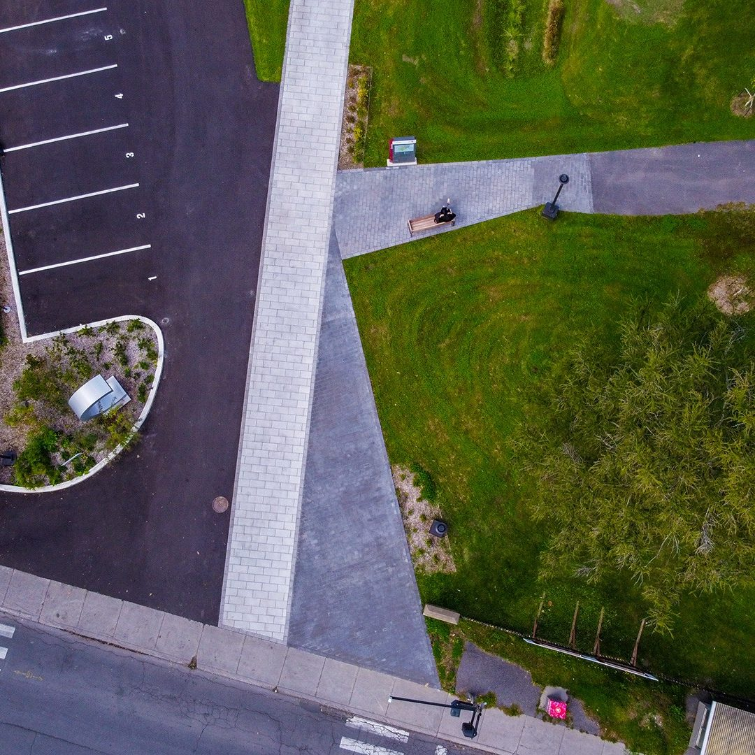 aerial view of pathways and green space on Concordia's Loyola campus