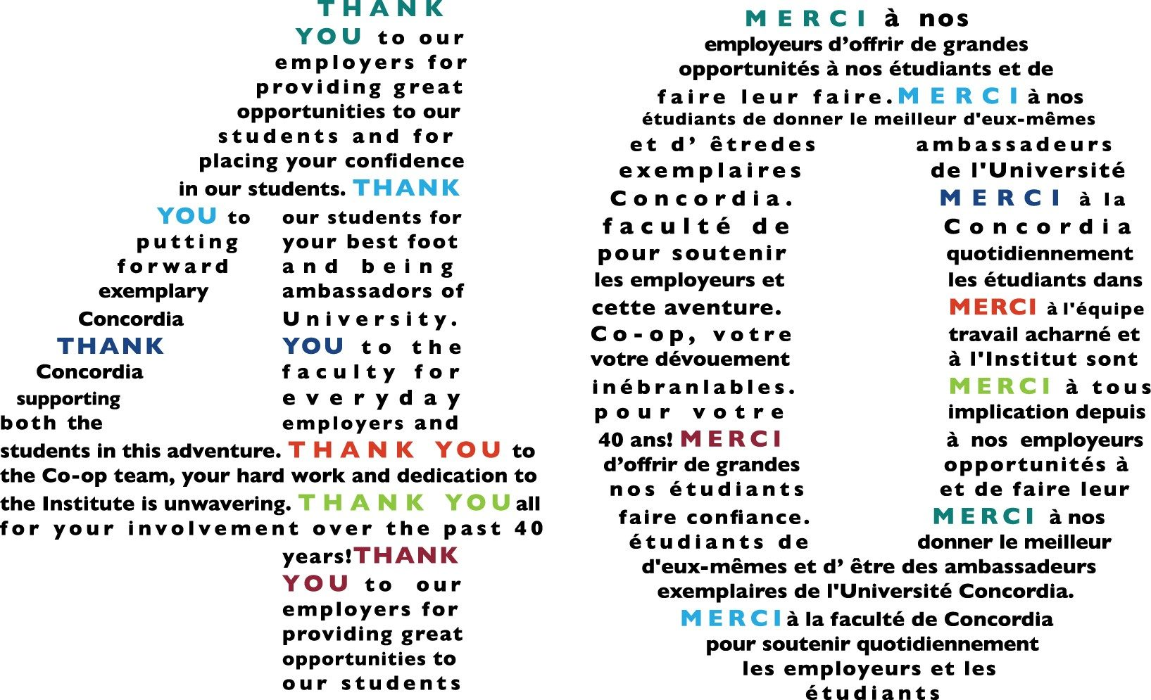 Message in the shape of the number 40 in English and French: Thank you to our employers; Thank you to our students; Thank you to Concordia, Thank you to Co-op Team, Thank you to employers