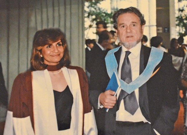 Gina Cody and her supervisor Cedric Marsh at her 1989 graduation