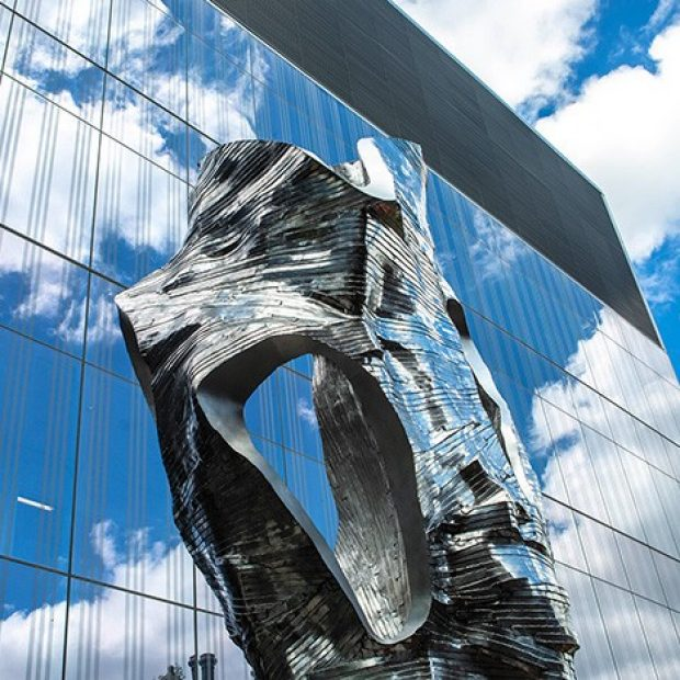 aluminum sculpture installed at Concordia's Loyola campus Applied Science Hub