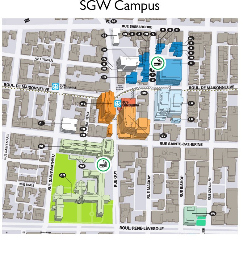 Designated smoking and vaping areas SGW Campus