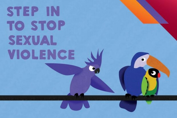image text: step in to stop sexual violence