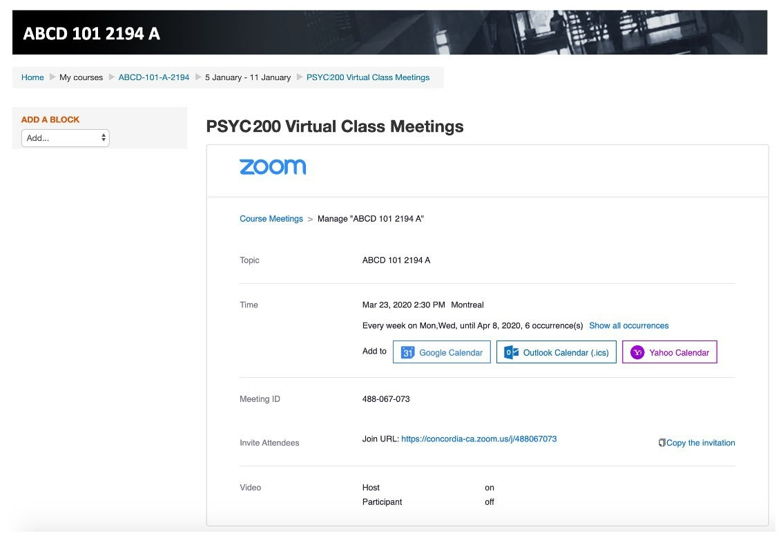 Moodle Virtual Class Meetings