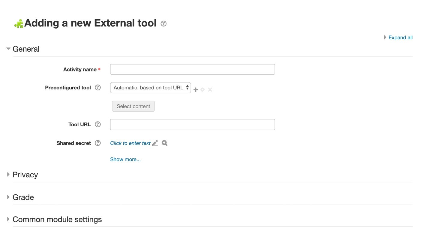 Moodle Adding a new External tool