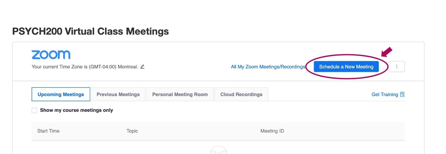 Zoom schedule a New Meeting