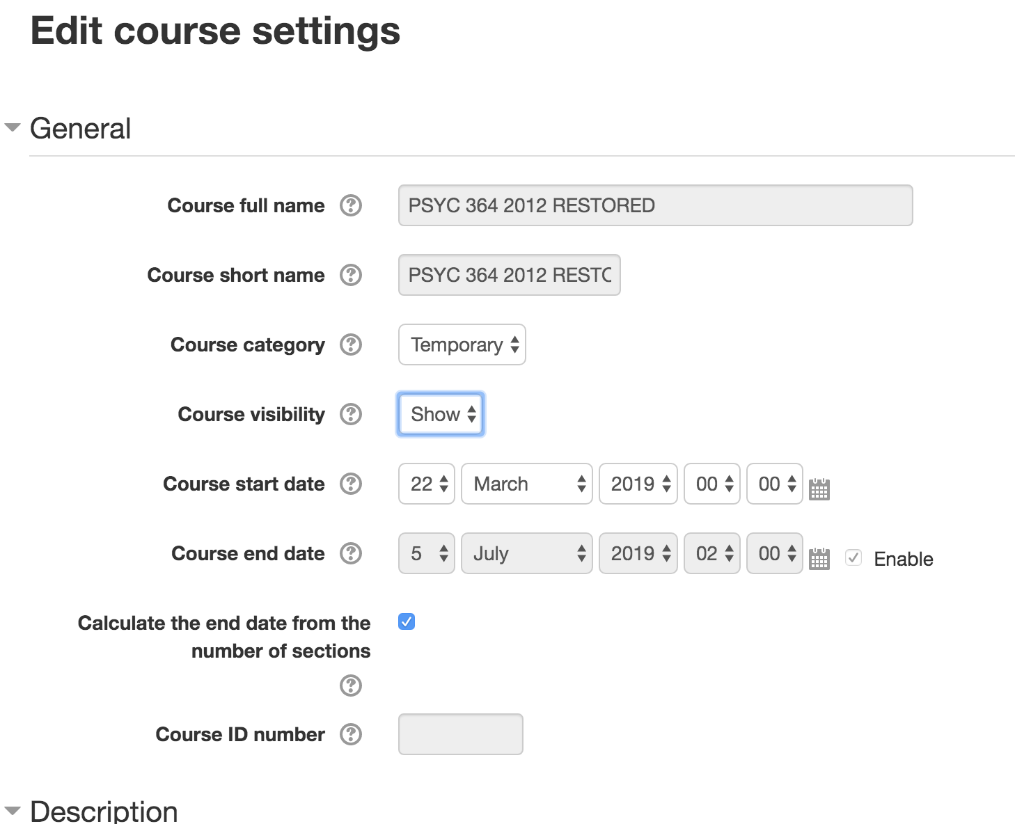 Moodle Edit Course Settings