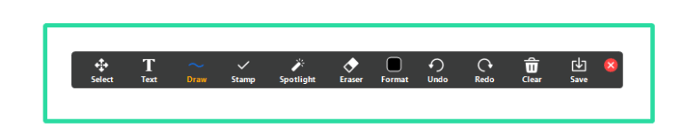A screenshot of Zoom's anotation tools bar: select, text, draw, stamp, spotlight, eraser, format, undo, redo, clear, save
