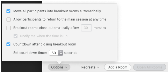 Screenshot of a notification window saying the breakout room is ending in 60 seconds