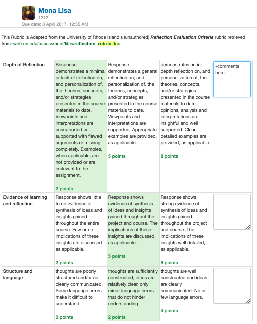 Screenshot of a user creating rubrics: Depth of reflection, evidence of learning and reflection, structure and language