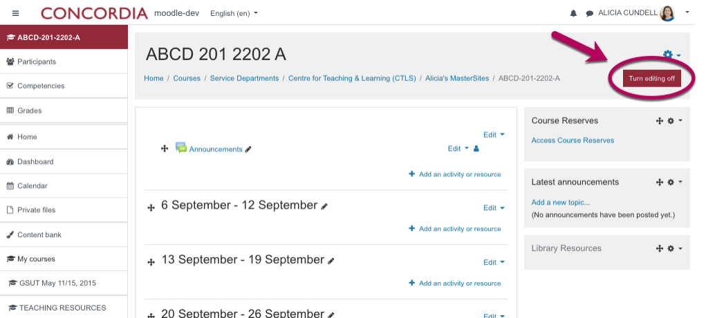 The Moodle home page appears and there is an arrow pointing to the Turn Editing on button in the top right-hand corner
