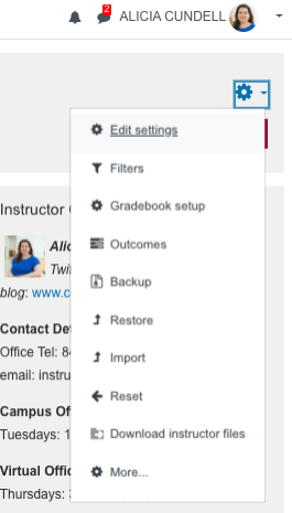 Action menu for Moodle 3.9 including:edit settings, filters, gradebook setup, Outcomes, backup, restore, import, reset, download instructor files, more