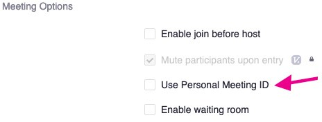 Deselect Personal Meeting ID Option