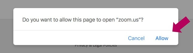 You may be prompted to open Zoom