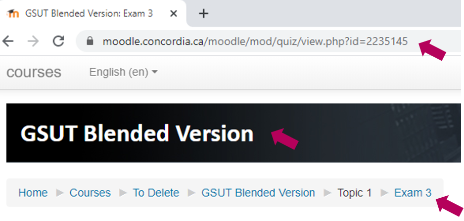 a course moodle page is displayed with arrows pointing to the URL, the Course Title and the Activity name