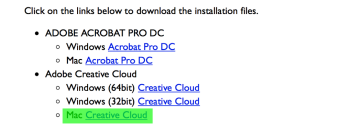Getting Adobe Acrobat and Creative Cloud on OS X