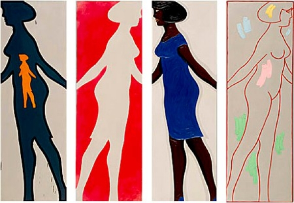 "Michael Snow: Four Grey Panels and Four Figures from the series ""Walking Woman,"" 1963, Montreal Museum of Fine Art"