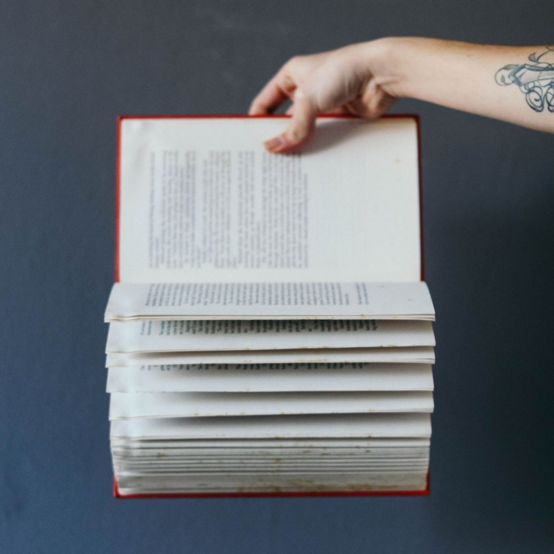 A hand holding a book with pages flipping
