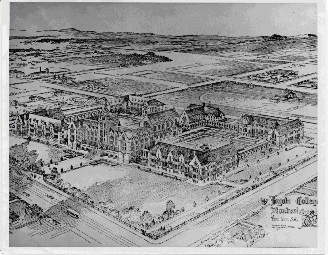 Architect's original conception of the Loyola Campus