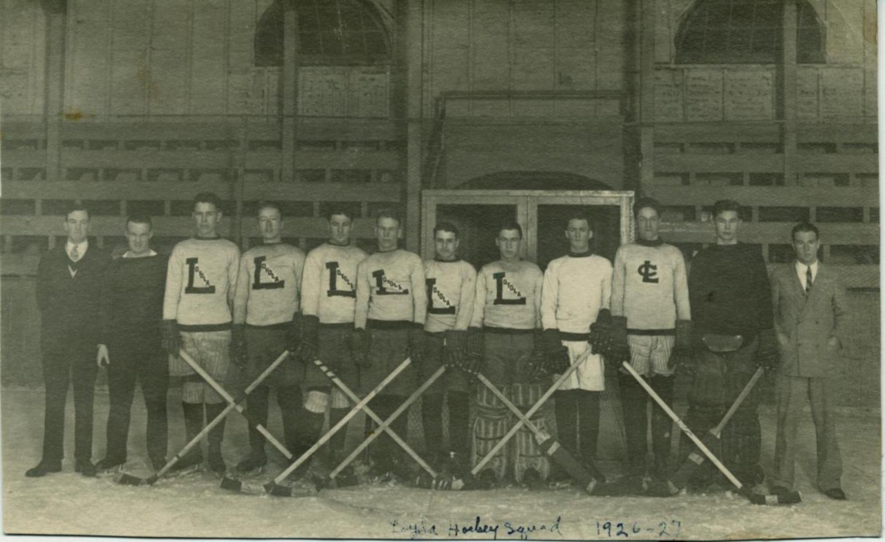 Loyola Hockey Team in the Loyola Arena/Rink