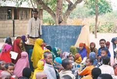 Outdoor school for Somali refugees fleeing famine and drought, in Dadaab, Kenya