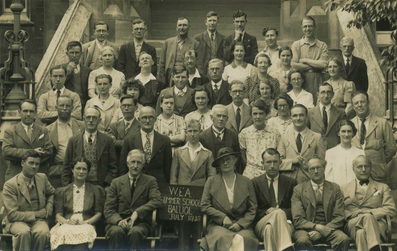 Karl Polanyi. Workers Educational Association (W.E.A.), Balliol, 1938. (First row - far right). © Kari Polanyi Levitt