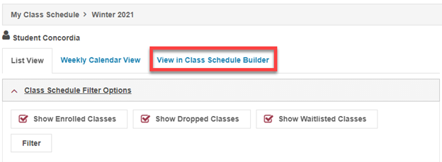For More Information About How To Use The Concordia Class Schedule Builder,  Please Watch The Instructional Video Available On The Student Hub.