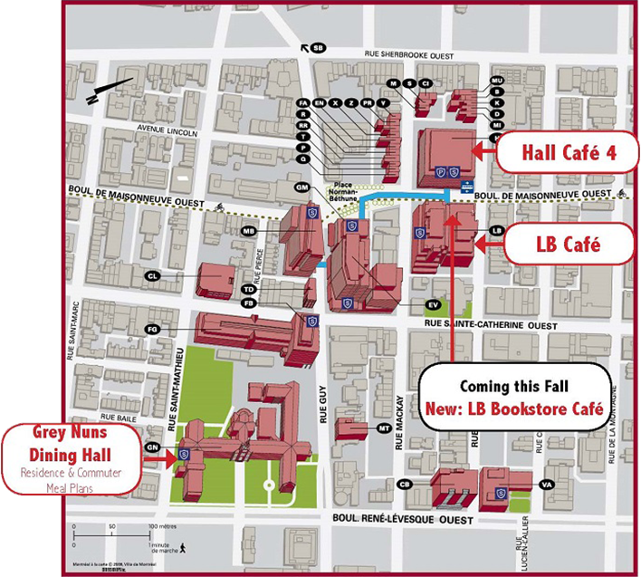 Concordia Campus Map Places to eat