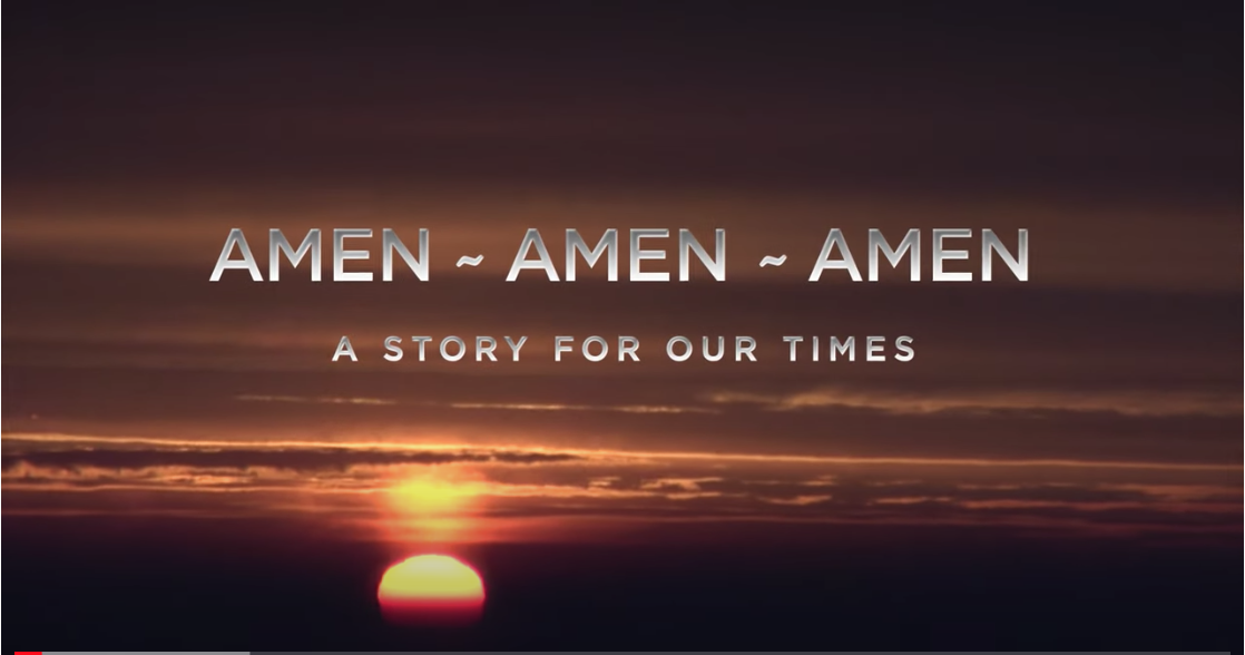 "Image of sunset and dark sky with film title and the text ""a story for our times"" in grey font"
