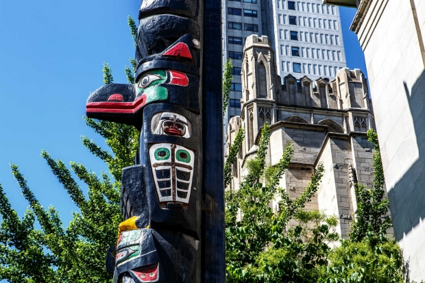 Totem Pole outside St. James Church