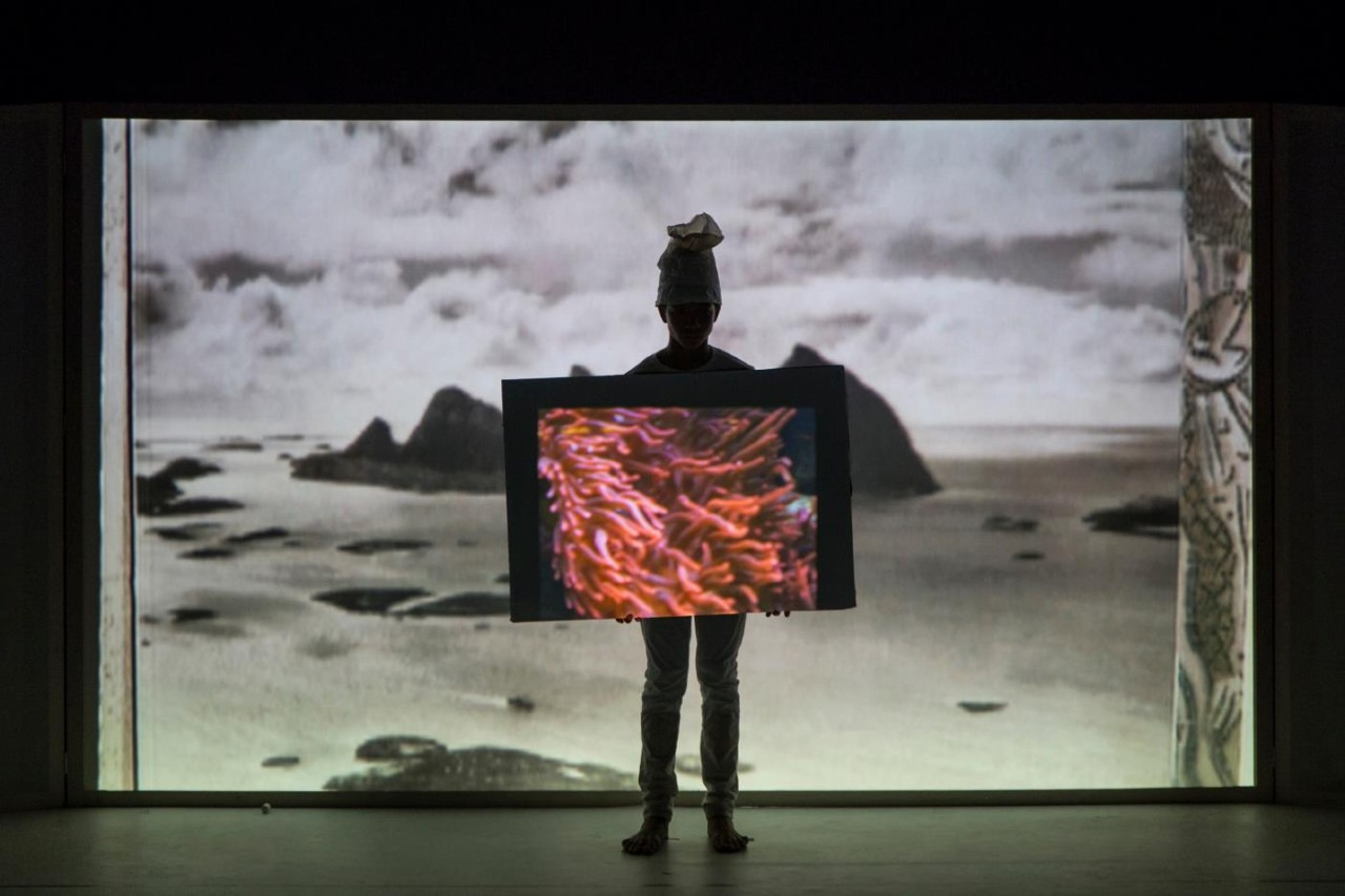 Joan Jonas, 'They Come to Us without a Word II', 2015. Performance view, Teatro Piccolo Arsenale. Music by Jason Moran and Joan Jonas. Photo: Moira Ricci, courtesy of the artist.