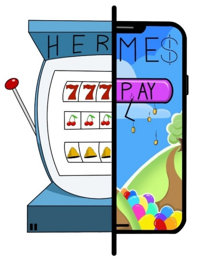 2D colourful illustration of a slot machine.