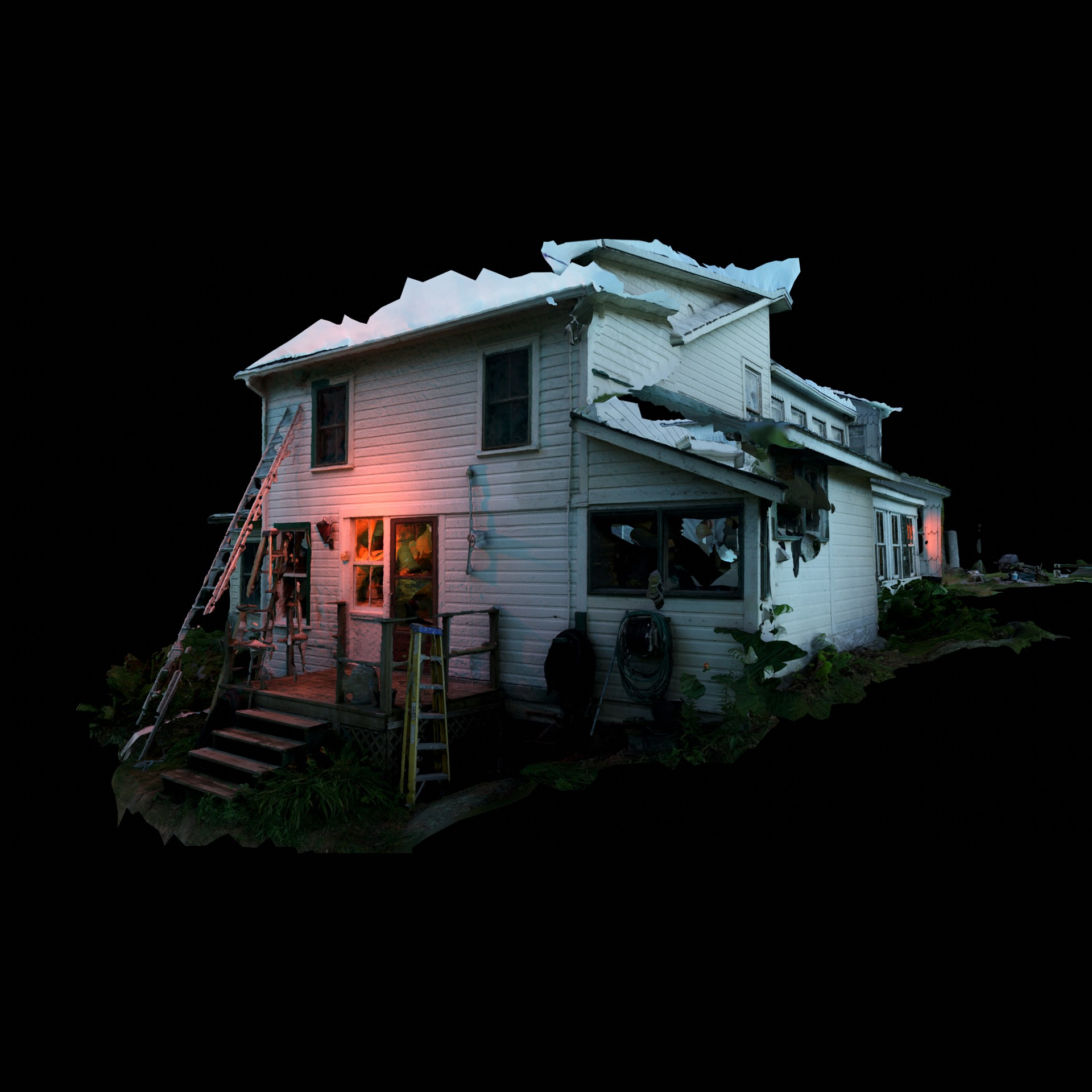 Image displays a cut out house on a black background.