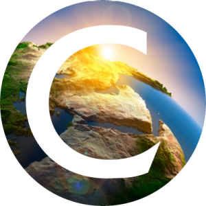 Circular image of overhead view of water and rocks, with white Concordia logo layered on top.