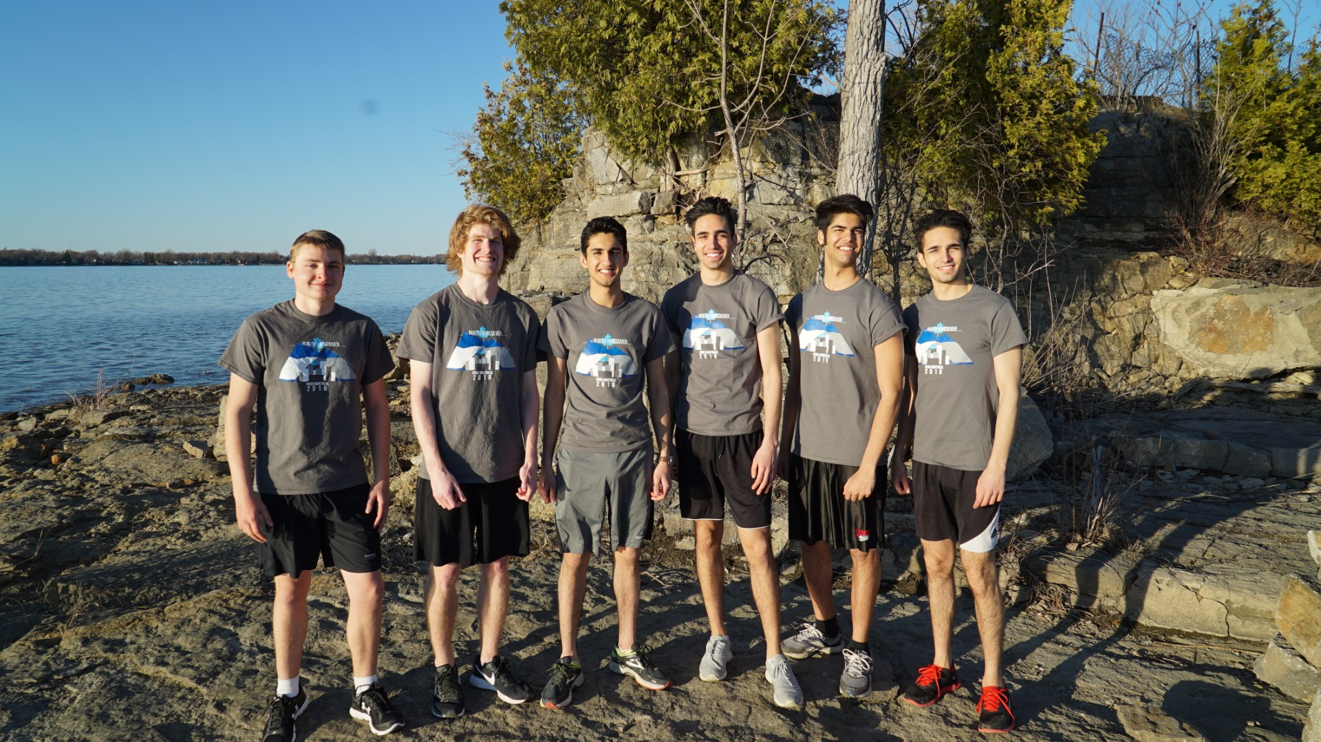 The Montreal Runners, left to right, Michael Davies, Keiston Herchel, Akshay Grover, Marc-André Blouin, Muhan Patel and Matthieu Blouin.