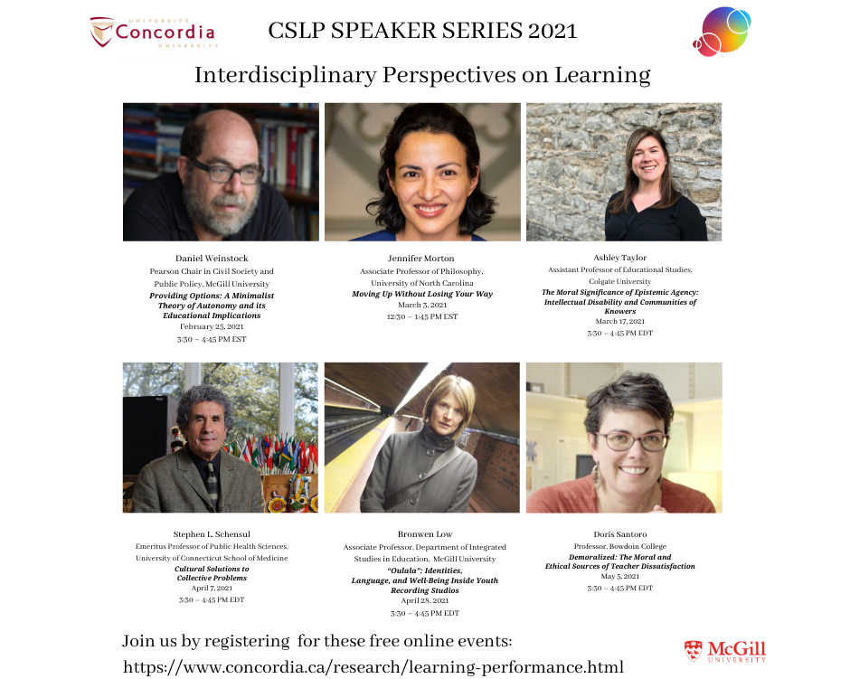 "Announcing the CSLP's 2021 Speaker Series ""Interdisciplinary Perspectives on Learning"""