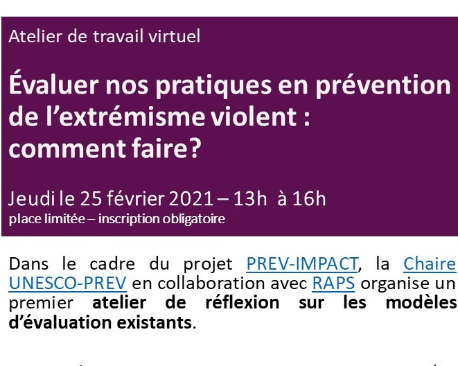 Upcoming Workshop on Evaluating Practices in The Prevention of Violent Extremism