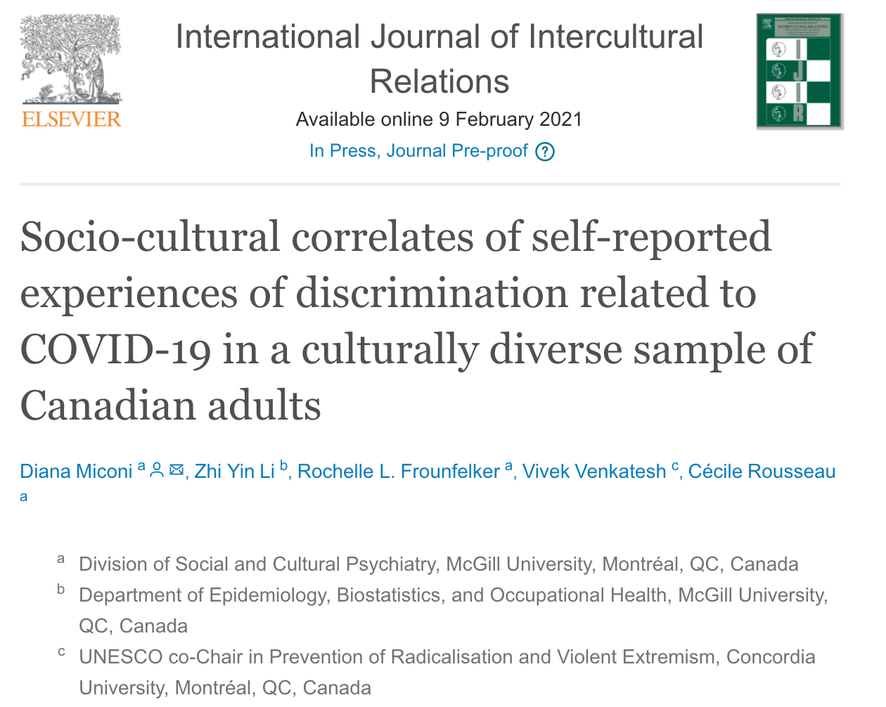 New Publication on Perceived Discrimination Experiences in Canadian Communities in a COVID-19 Context.