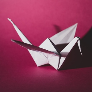 photo of swan origami that transforms a flat sheet of paper into a 3d object