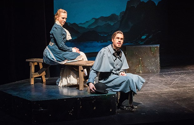 Alexandra Przybyla and Simon Pelletier onstage in Secrets and Lies: The world of Henrik Ibsen.