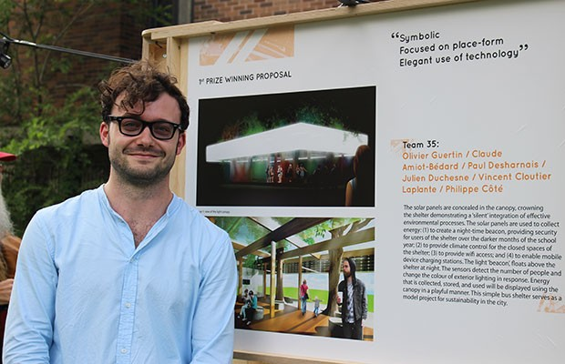Olivier Guertin, one of the architects from Team 35 the won first prize in the Loyola Solar Powered Bus Shelter Competition