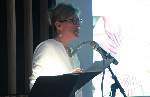 Rebecca Duclos, Dean of Fine Arts, speaking at the AHRC launch. Photo by Dougy Hérard.