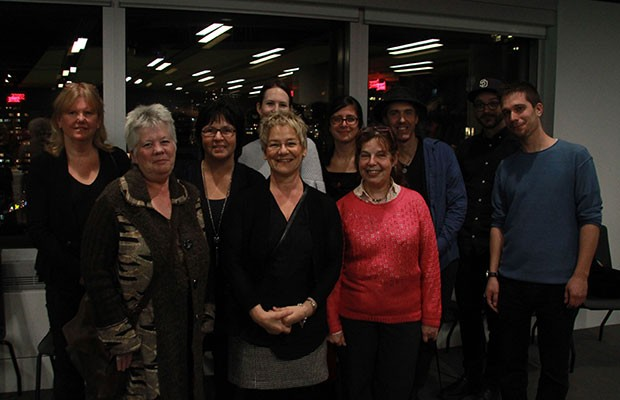 The Music Therapy Group. First row, left to right: Sandi Curtis, Guylaine Vaillancourt, Hélène Century. Second row, left to right: Deborah Josephson, Suzanne Caron, Kristen Corey, Julie Migner-Laurin, Dany Bouchard, Julien Peyrin, and Daniel Kruger. Photo by Dougy Hérard.