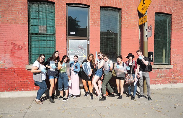 Theatre students who worked with Janssen on Hauntings, a site-specific theatre creation