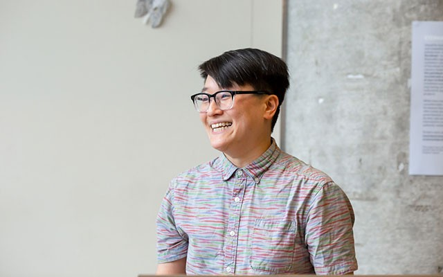 Part-time Professor Jenny Lin, studio arts, at the Fine Arts Distinguished Teaching Awards