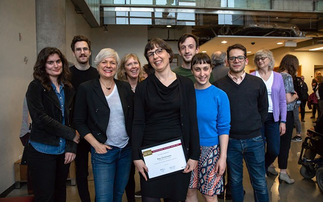 Professor Kay Dickinson, film studies, at the Fine Arts Distinguished Teaching Awards with students and colleagues.
