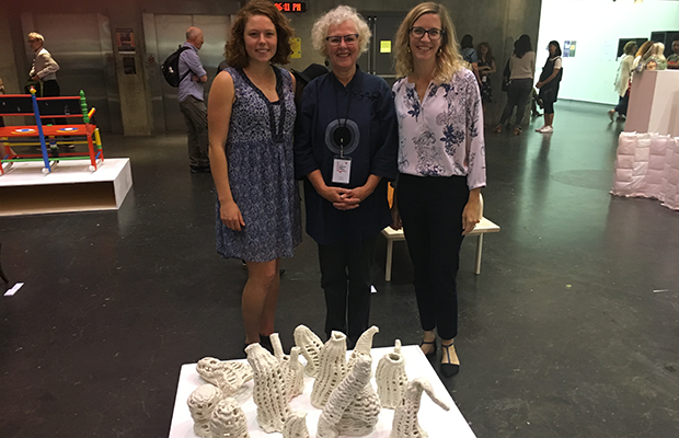 Below, left to right: Erin Berry (Ceramics, Concordia), Susan Surette, Elaine Cheasley Paterson (in front of Erin's artwork) at the student exhibition.