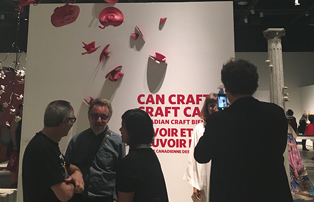 View of the National Craft Exhibition Can Craft? Craft Can! with the work of craftspeople from across Canada.
