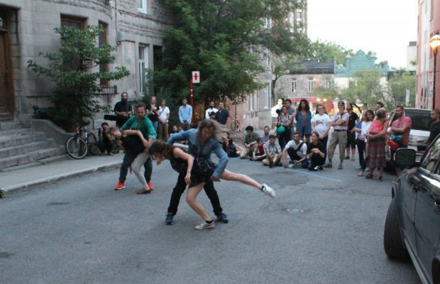 Milan Gervais and her company Human Playground perform Parking as part of Montreal's 375th. Photo courtesy of Human Playground.