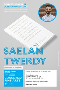 CICA Presents Saelan Twerdy - Friday, Nov. 9 at 6pm in VA-114