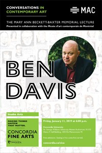 CICA and the MAC Present BEN DAVIS - Friday, Jan. 11 at 6pm in H-110